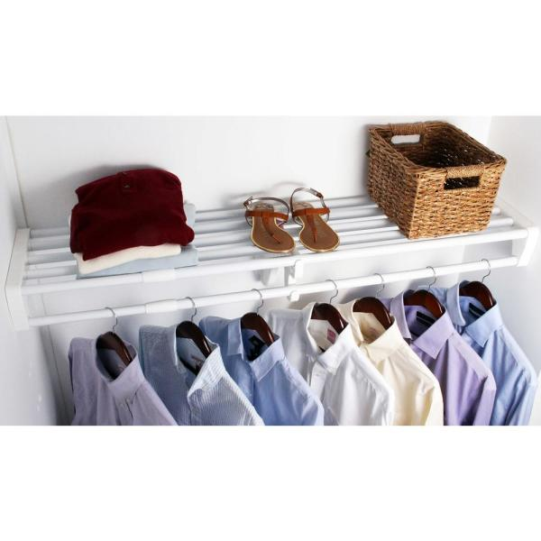 Expandable DIY Closet Shelf & Rod 40 in - 73 in W, White,Mounts to 2 Side Walls (NO End Brackets), Wire, Closet System