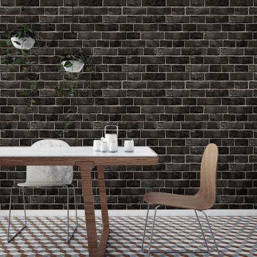 Textured Brick Ebony Peel and Stick Wallpaper 28 sq. ft.