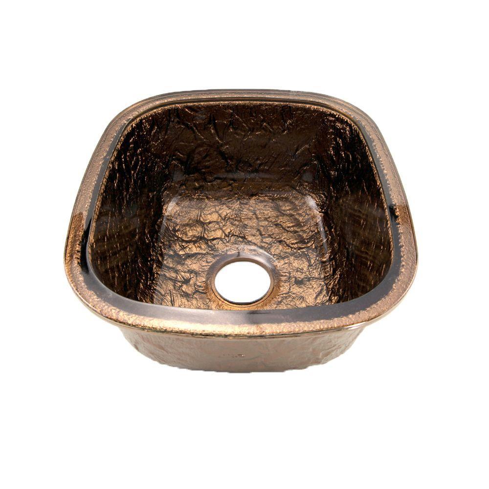 Undermount Glass 17 in. 0-Hole Kitchen Sink in Cobalt Copper
