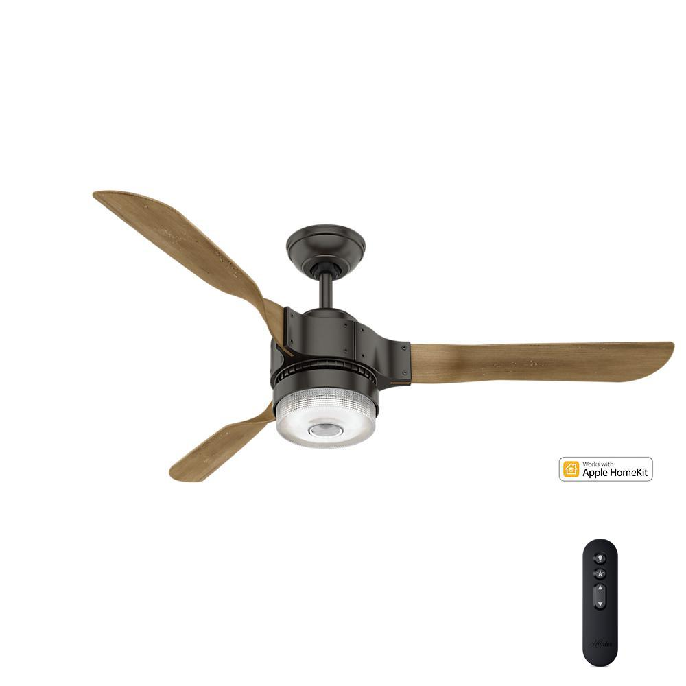 Hunter Summerlin 48 Noble Bronze Ceiling Fan With Light: Hunter Apache Wifi Enabled Apple HomeKit/Google Home/Alexa