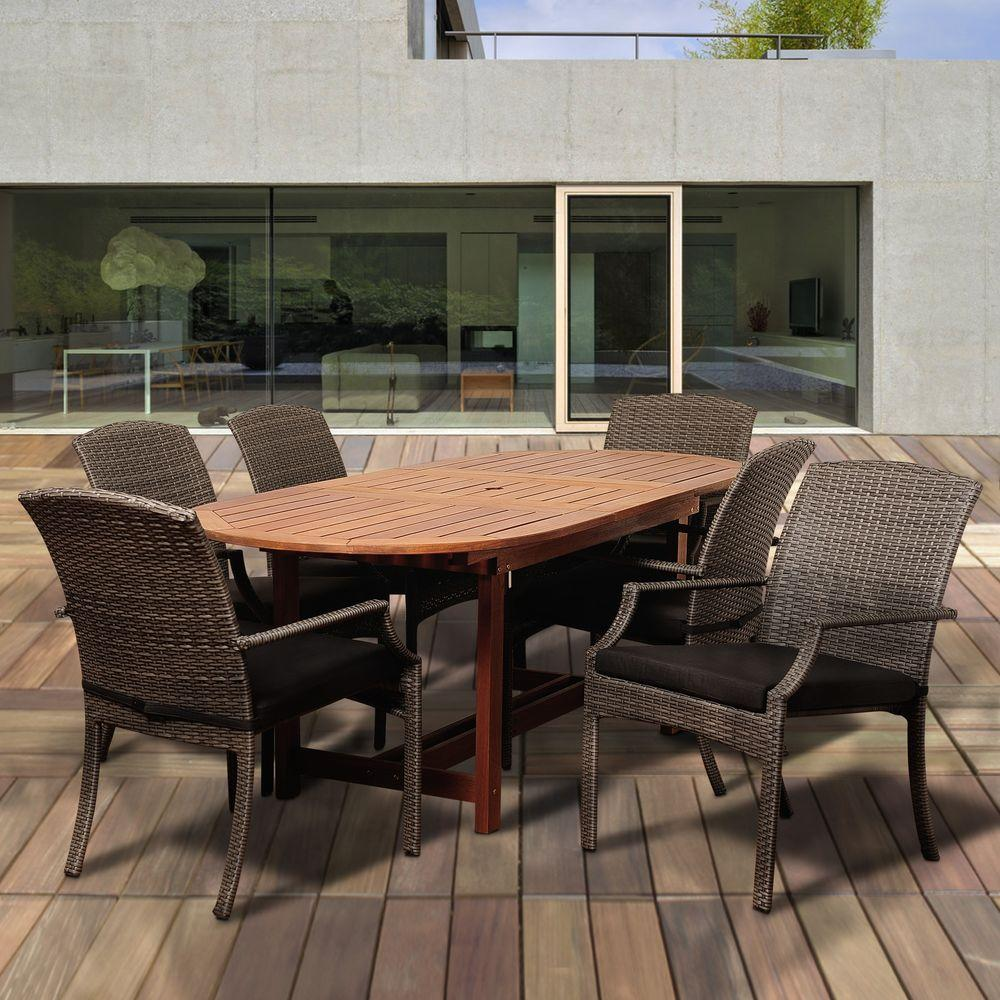 Dale 7-Piece Eucalyptus Extendable Oval Patio Dining Set with Grey Cushions
