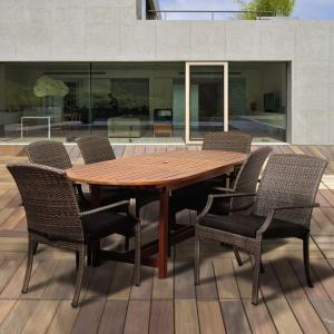 Amazonia Dale 7-Piece Eucalyptus Extendable Oval Patio Dining Set with Grey Cushions by Amazonia