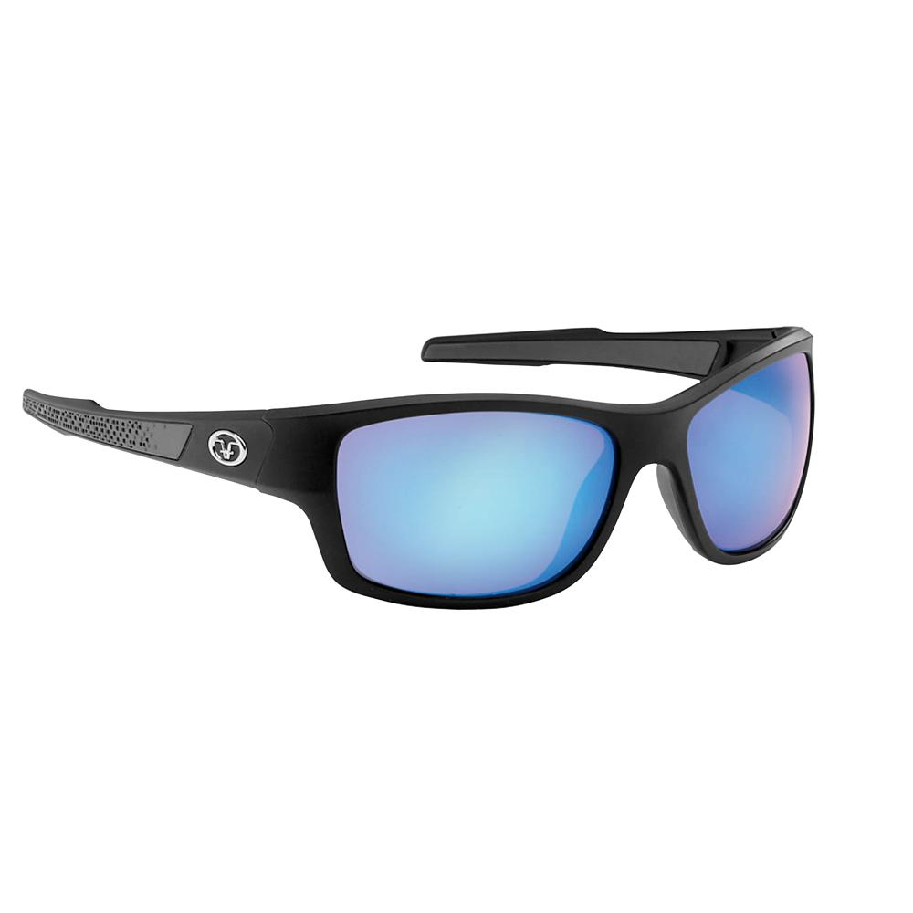 c4aca6df3752 Flying Fisherman Down Sea Polarized Sunglasses Matte Black Frame with Smoke  Blue Mirror Lens