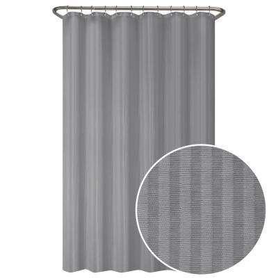 70 in. W x 72 in. L Ultimate Striped Waterproof Fabric Shower Curtain or Liner, Grey