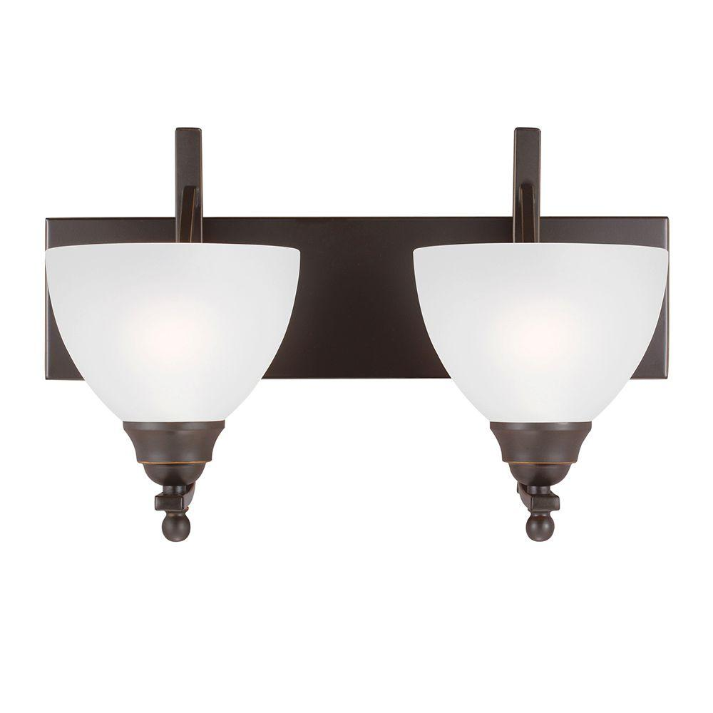 Sea Gull Lighting Vitelli 2-Light Autumn Bronze Wall/Bath Light with Satin Etched Glass