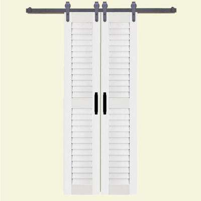 Louver White Pvc Composite Split Barn Door