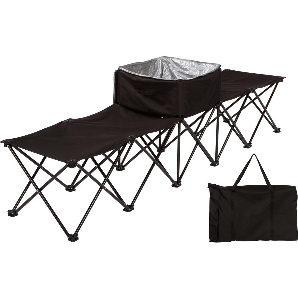 7.5 ft. Black Portable 4-Seater Folding Team Sports Sideline Chair with