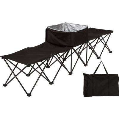 7.5 ft. Black Portable 4-Seater Folding Team Sports Sideline Chair with Attached Cooler