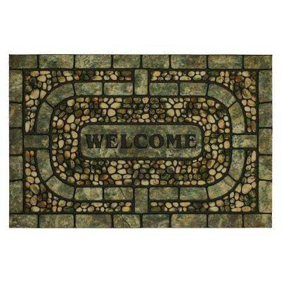 Welcome Garden Pebbles Gray 23 in. x 35 in. Doorscapes Estate Mat