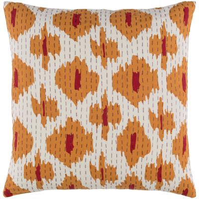 Greville Orange Graphic Polyester 22 in. x 22 in. Throw Pillow