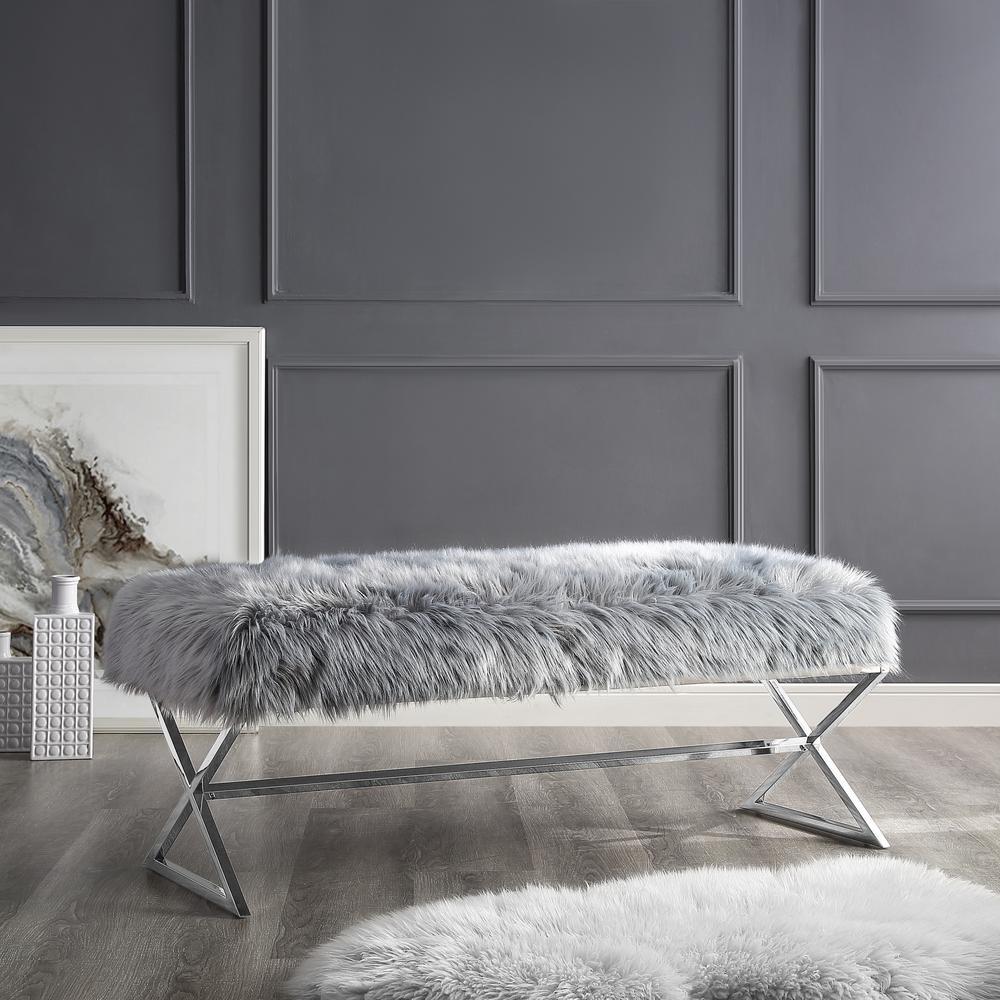 Elora Metal X-Leg Grey/Chrome Faux Fur Bench