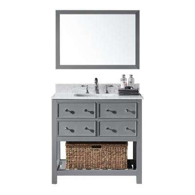 36 in. W x 22 in. D x 34.21 in. H Bath Vanity in Taupe Grey w/ Marble Vanity Top in White w/ White Basin and Mirror
