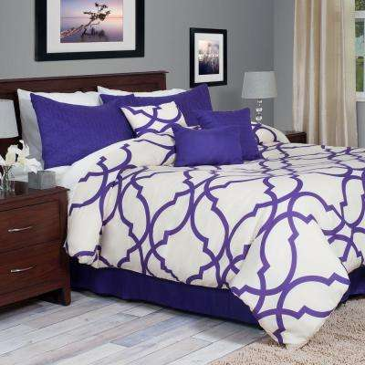 Trellis 7-Piece Purple King Comforter Set