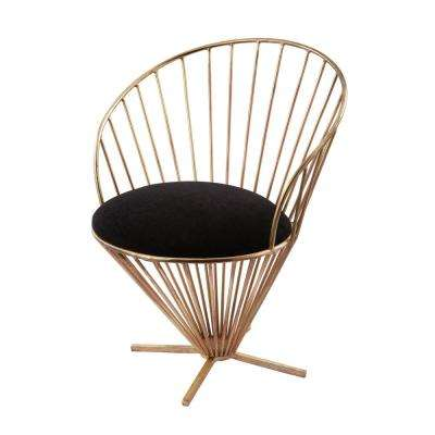 Iron Taper Wire Gold with Black Velvet Cushion Side Chair
