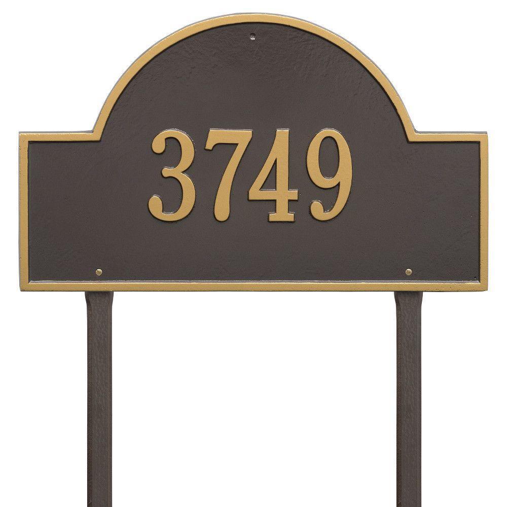 Arch Marker Estate Bronze/Gold Lawn 1-Line Address Plaque