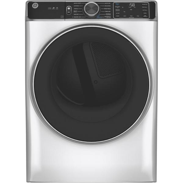 7.8 cu. ft. Smart 240-Volt White Stackable Electric Vented Dryer with Steam and Sanitize Cycle, ENERGY STAR