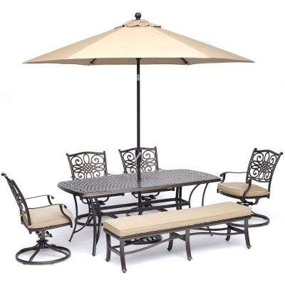 Traditions 6-Piece Aluminum Outdoor Dining Set with 4 Swivel Rockers with Tan Cushions, Umbrella and Stand