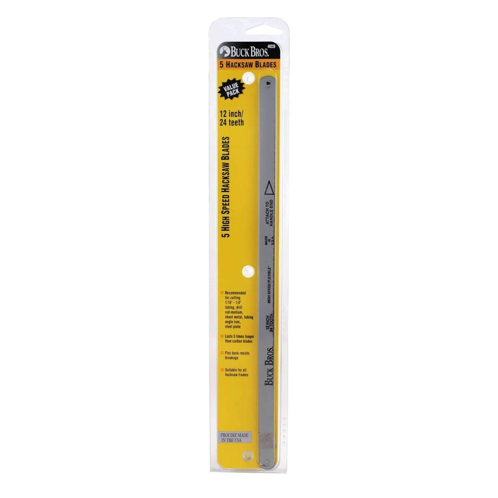 Buck bros 12 in and 24t hss hacksaw blade 5 pack 120gm524 the 12 in and 24t hss hacksaw blade 5 pack greentooth Choice Image