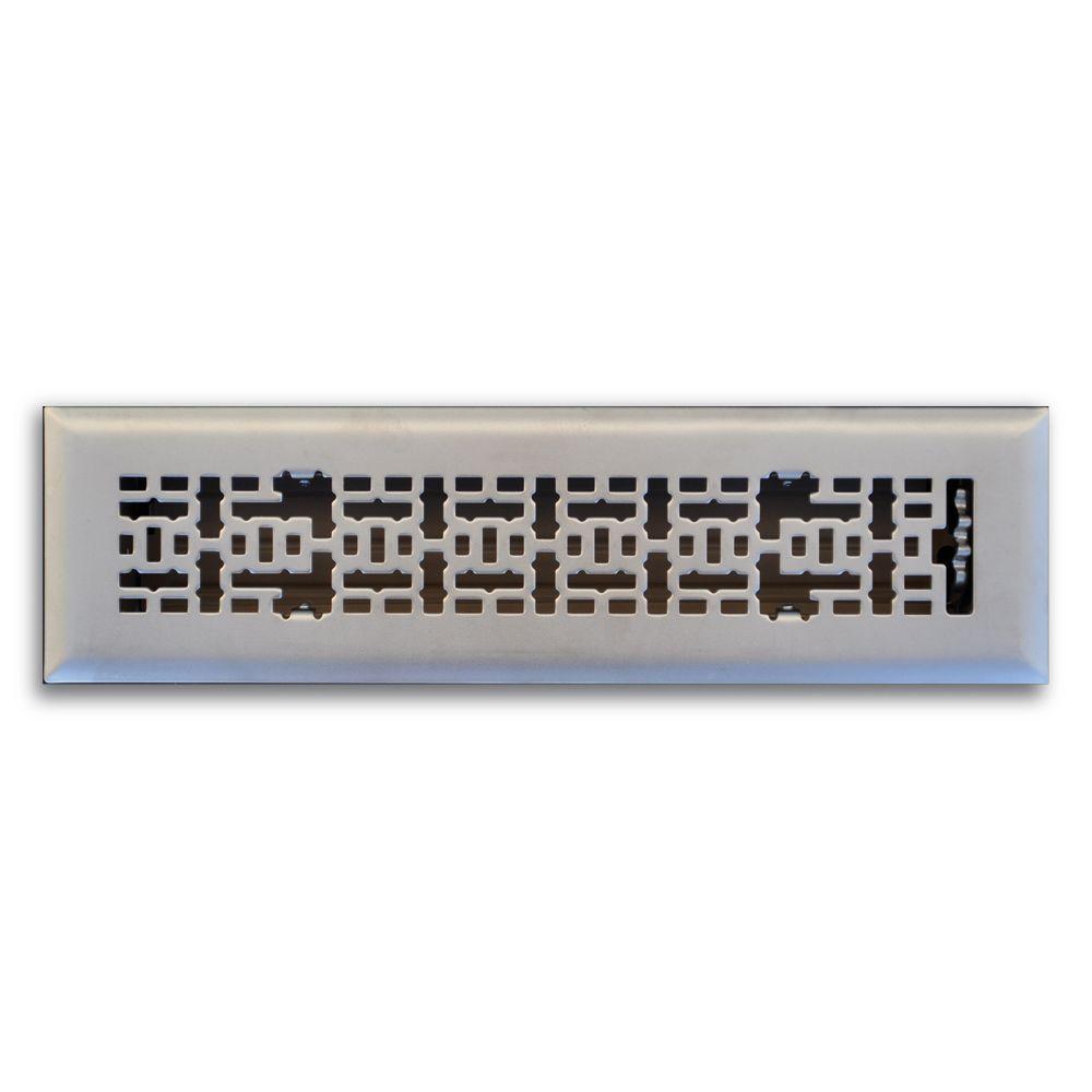 2 in. x 10 in. Modern Contempo Floor Diffuser, Satin Nickel