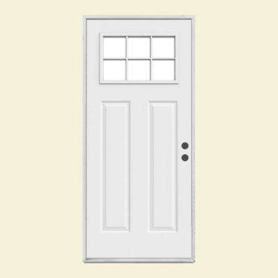Craftsman 6-Lite Primed Steel Prehung Front Door