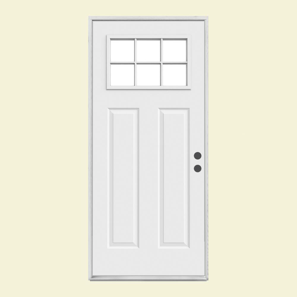 36 inch exterior door with window. jeld-wen 36 in. x 80 6 lite craftsman primed steel prehung inch exterior door with window r