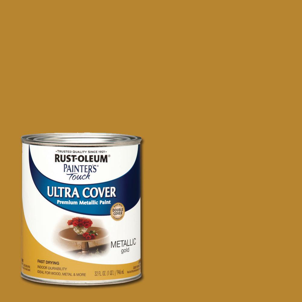 Rust oleum painter 39 s touch 32 oz ultra cover metallic gold general purpose paint case of 2 for Rustoleum exterior metal paint