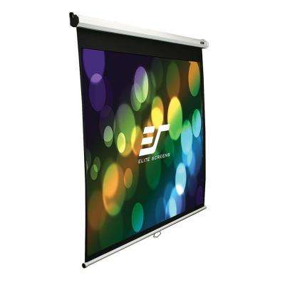 72 in. H x 96 in. W Manual Slow Retract Projection Screen with White Case