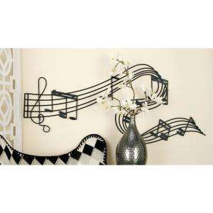 Iron Black and Gold Music Note Wall Decor by