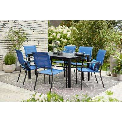 Mix and Match Black Rectangle Metal Outdoor Dining Table with Slat Top