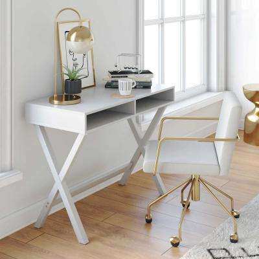 Kalos White Computer Desk with Storage