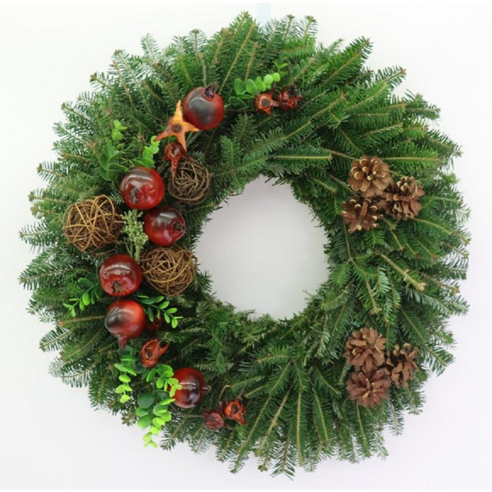 Fresh Christmas Wreaths.Cottage Farms Direct 24 In Fresh Christmas Delight Fraser Fir Evergreen Wreath Live