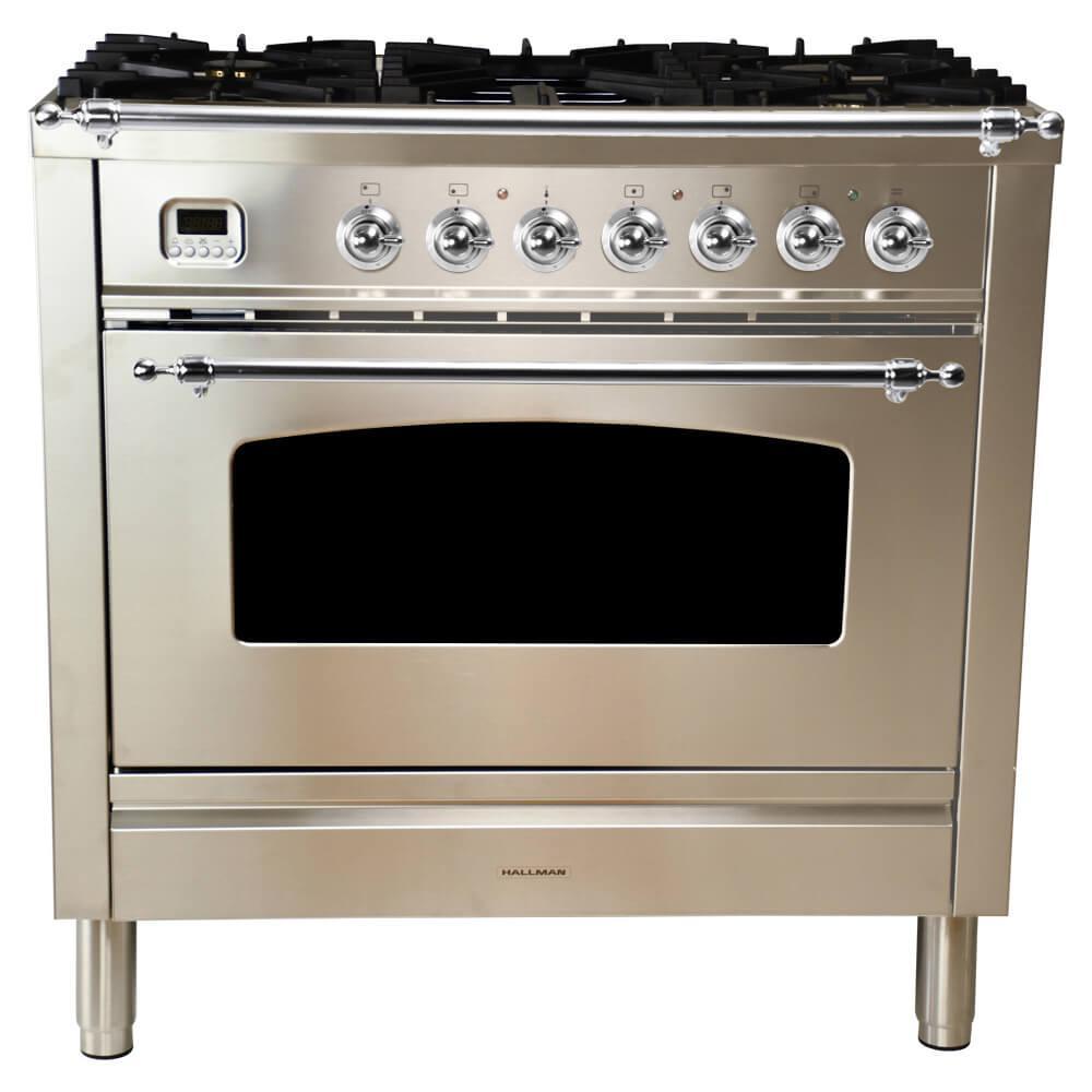 36 Gas Range >> Hallman 36 In 3 55 Cu Ft Single Oven Dual Fuel Italian Range W True Convection 5 Burners Griddle Chrome Trim Stainless Steel
