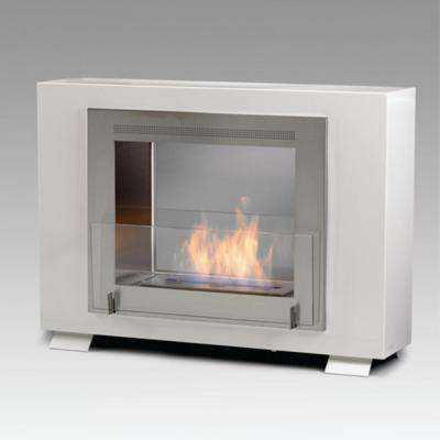 Wellington 2-sided 33 in. Ethanol Free Standing Fireplace in Gloss White with Stainless Interior