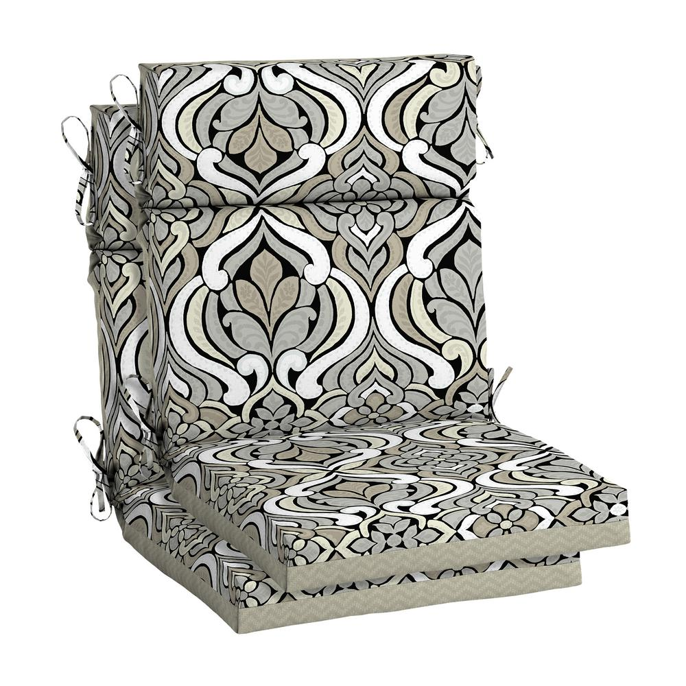 Miraculous Hampton Bay Driweave 21 5 X 44 Black And Gray Tile High Back Outdoor Chair Cushion 2 Pack Download Free Architecture Designs Ogrambritishbridgeorg