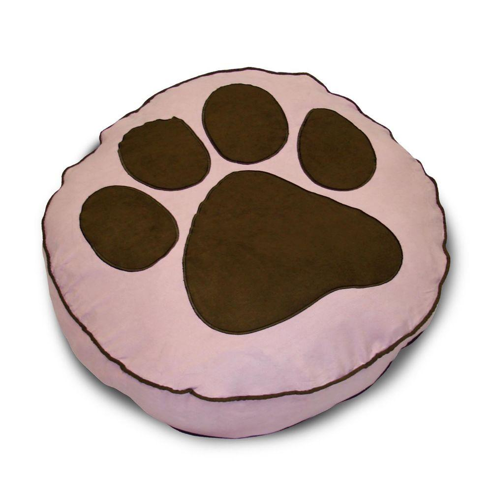 Home Fashions International Round Paw Print Pink Pet Bed
