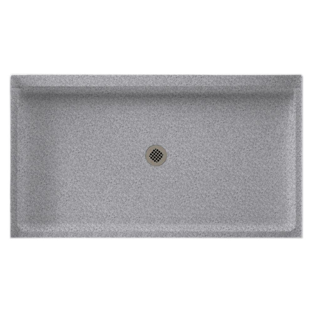 Solid Surface Shower Base.Swan 34 In X 60 In Solid Surface Single Threshold Center Drain Shower Pan In Gray Granite