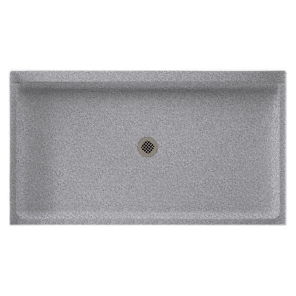 34 in. x 60 in. Solid Surface Single Threshold Center Drain Shower Pan in Gray Granite