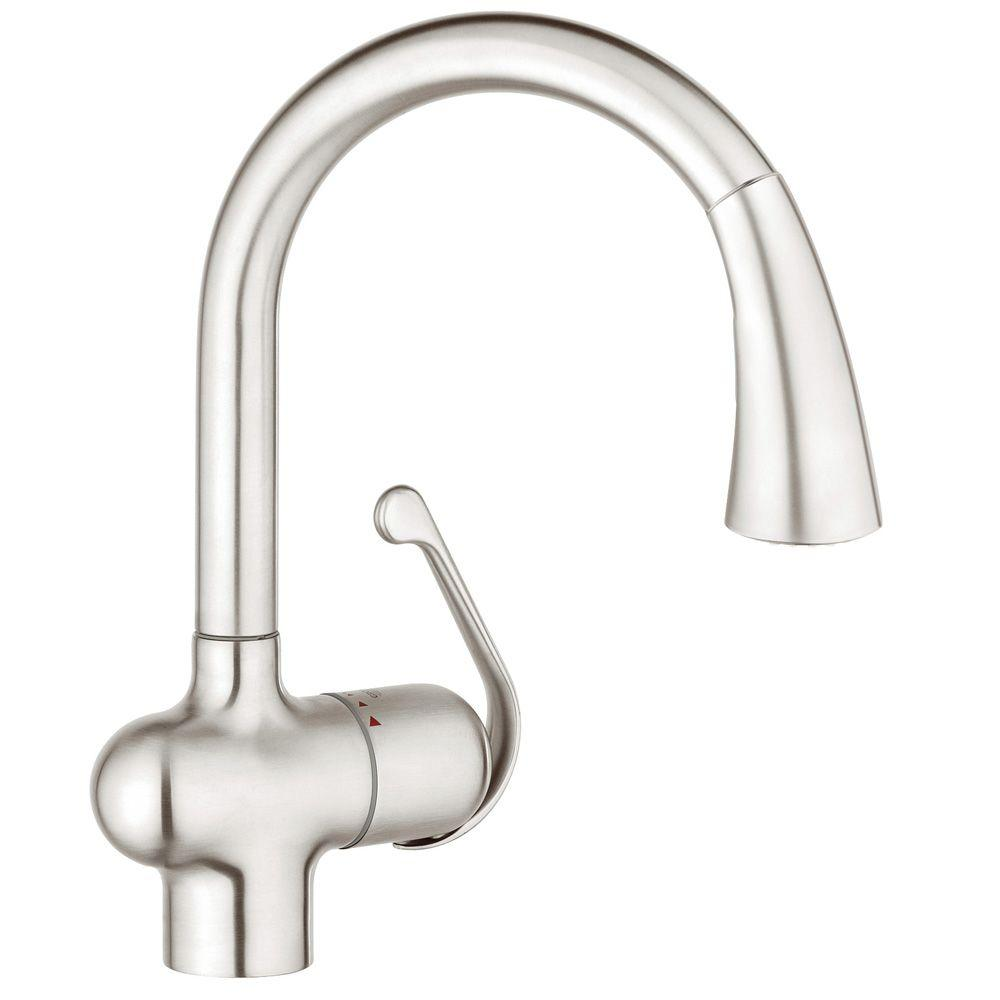 GROHE LadyLux Cafe Single Handle Pull Down Sprayer Kitchen Faucet With Dual  Spray In RealSteel 33755SD1   The Home Depot