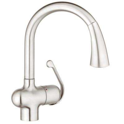 LadyLux Cafe Single-Handle Pull-Down Sprayer Kitchen Faucet with Dual Spray in RealSteel