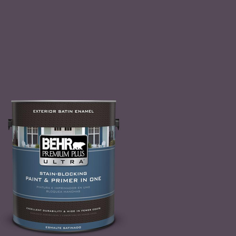 BEHR Premium Plus Ultra 1-gal. #670F-7 Blackberry Wine Satin Enamel Exterior Paint