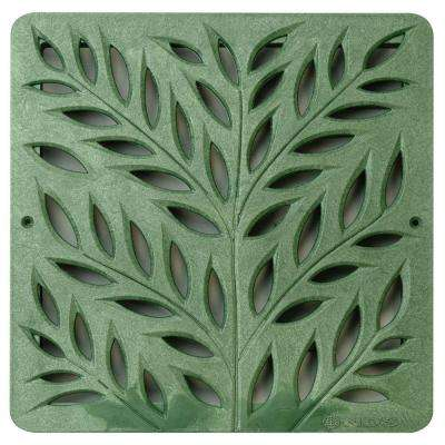 12 in. Plastic Botanical Design Square Grate in Green