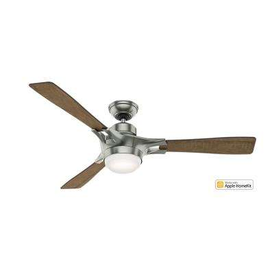 Signal-Wifi Enabled Apple HomeKit/Alexa Compatible 54 in. Indoor Satin Nickel Ceiling Fan with Light Kit and Remote