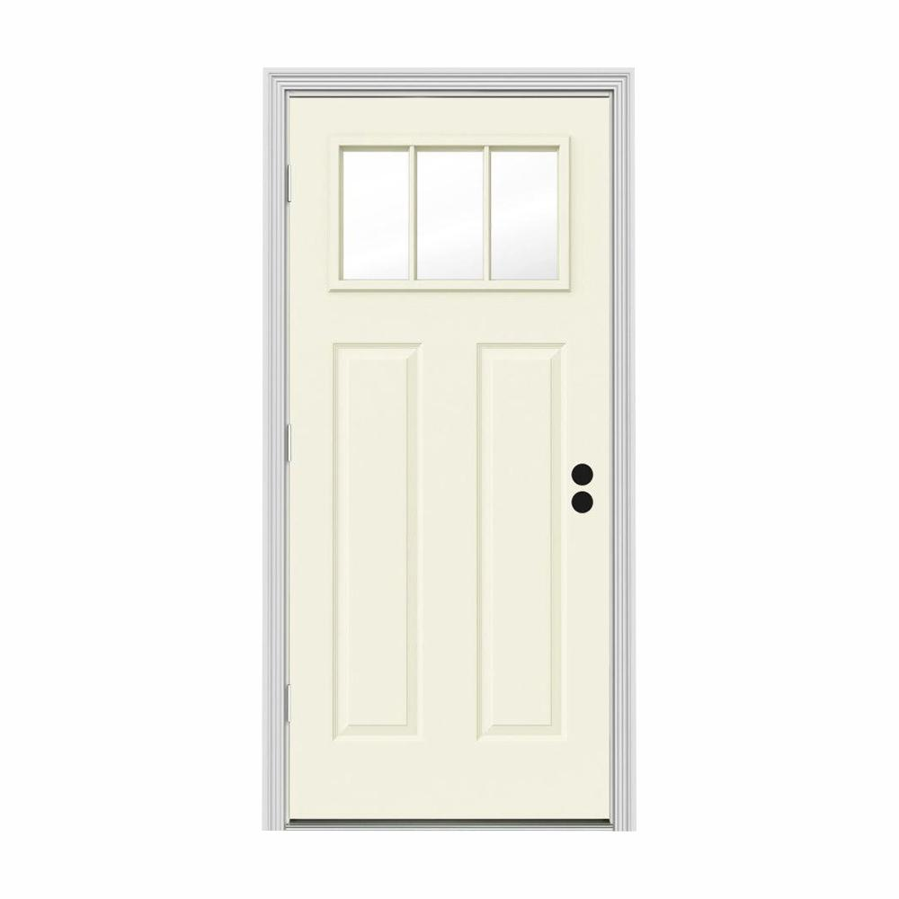 JELD-WEN 30 in. x 80 in. 3 Lite Craftsman Vanilla Painted Steel Prehung Right-Hand Outswing Front Door w/Brickmould