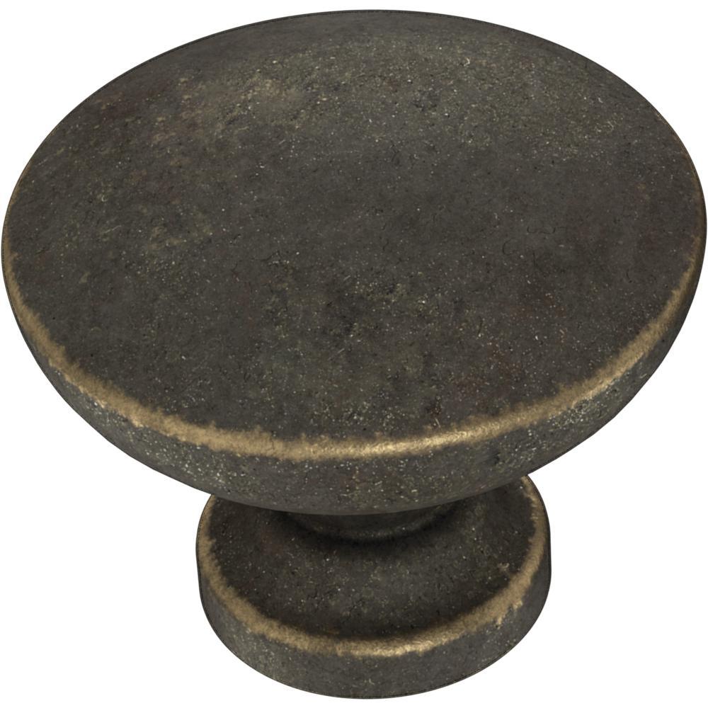 Essentials Fulton 1-3/16 in. (30 mm) Warm Chestnut Cabinet Knob (10-Pack)