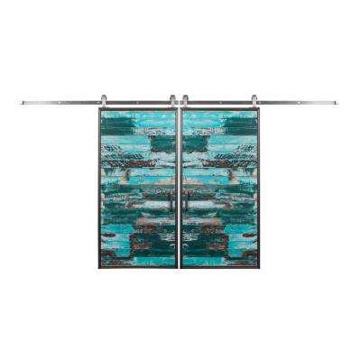 biparting 36 in x 84 in mountain modern aqua barn doors with