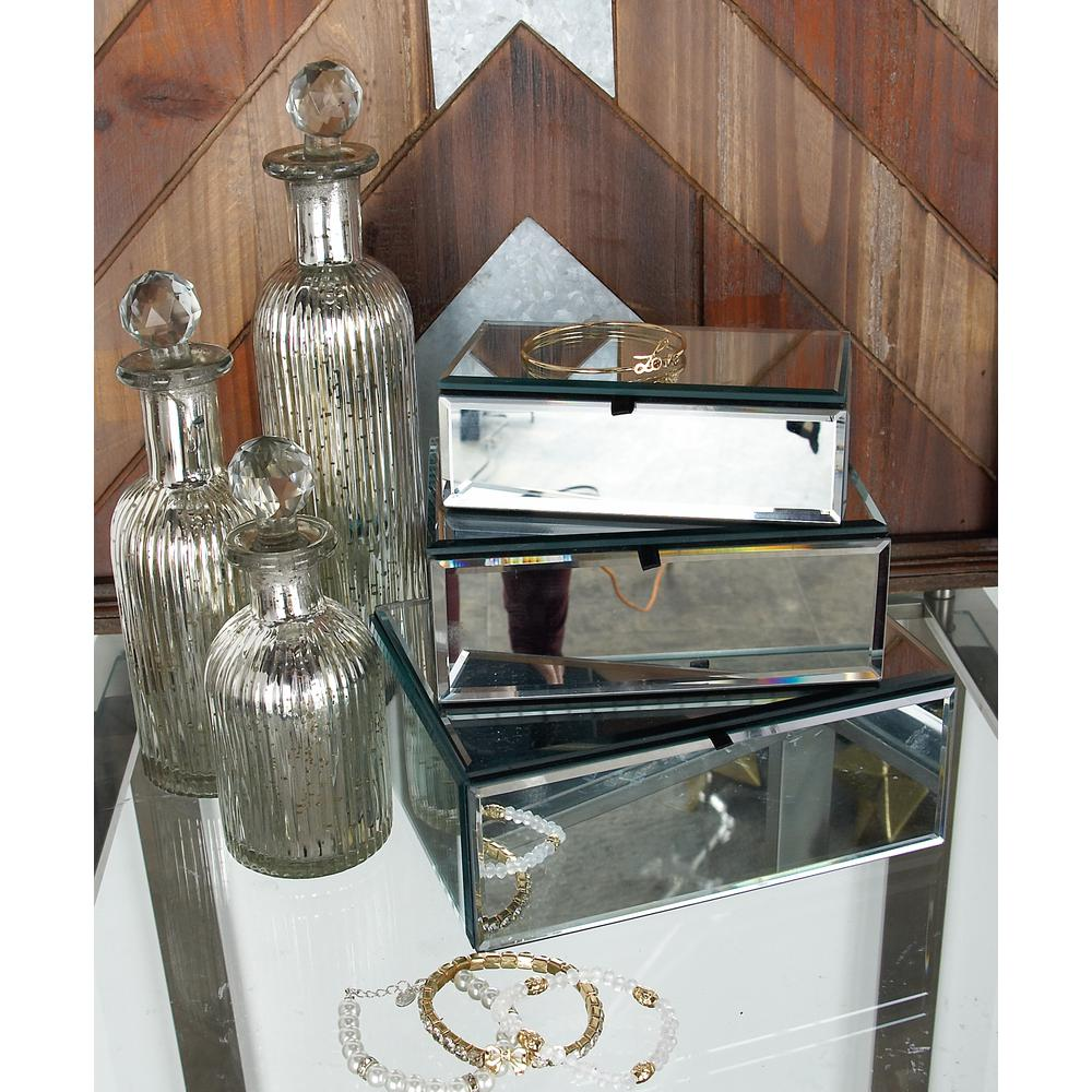 litton lane modern rectangular mirrored jewelry boxes with lids set
