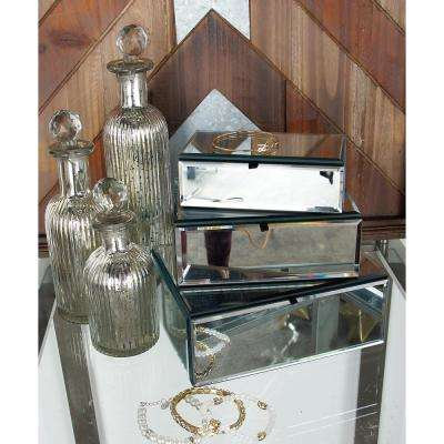 Modern Rectangular Mirrored Jewelry Boxes with Lids (Set of 3)