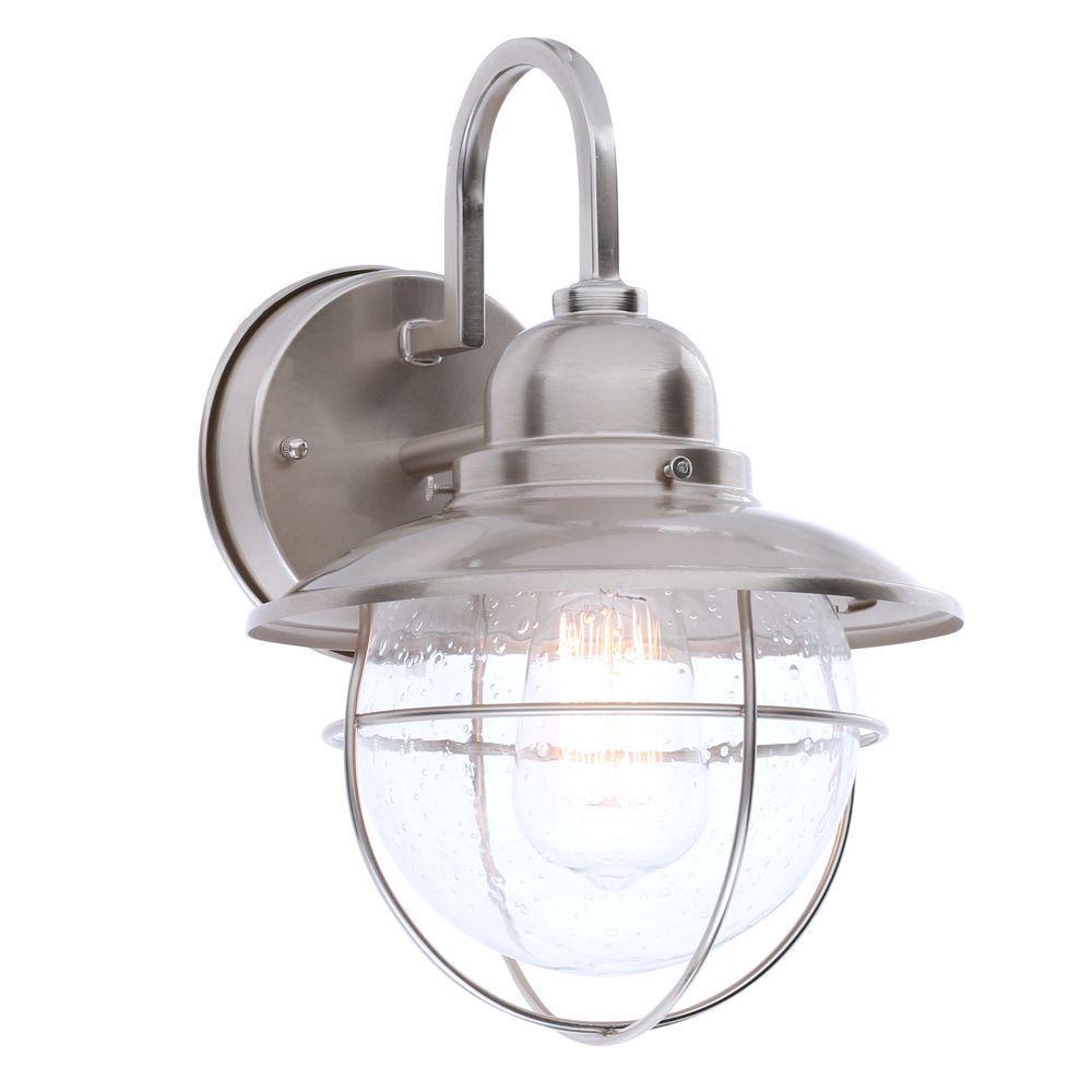 Hampton Bay 1 Light Brushed Nickel Outdoor Cottage Lantern BOA1691H BN
