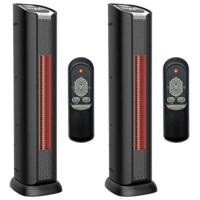 24 in. 1500-Watt 2 Element Quartz Infrared Portable Tower Heater and Fan
