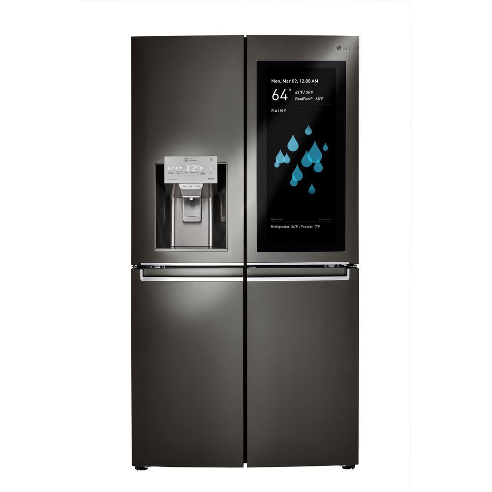 LG Electronics 29.7 cu. ft. InstaView ThinQ 4-Door French Door Refrigerator in Black Stainless Steel